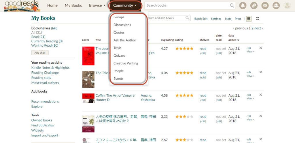 goodreads 使い方 操作方法 日本語