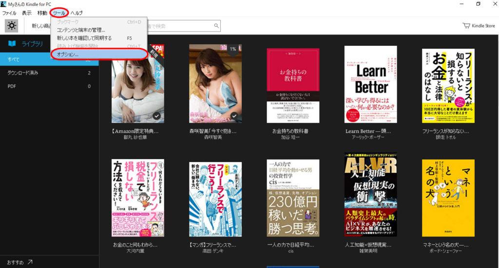 Kindle Cloud Reader 使い方 本 オプション