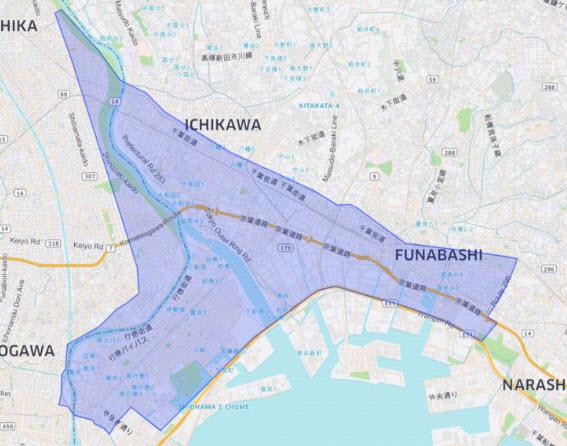 Uber Eats UberEats ウーバーイーツ エリア 地域 配達範囲 東京 千葉 埼玉 注文 地図 ヒートマップ 千葉県市川市 船橋市