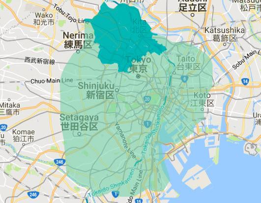 Uber Eats UberEats ウーバーイーツ エリア 地域 配達範囲 東京 千葉 埼玉 注文 地図 ヒートマップ 豊島区 北区 板橋区 池袋 赤羽 板橋