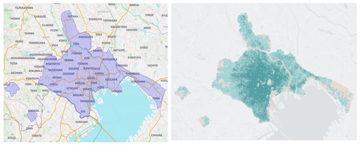 Uber Eats UberEats ウーバーイーツ エリア 地域 配達範囲 東京 千葉 埼玉 注文 地図 ヒートマップ
