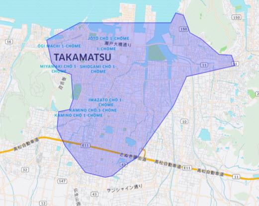 ウーバーイーツ ubereats uber eats 香川県 高松エリア 高松市 バイト 登録 配達エリア 地域 配達員 配達パートナー