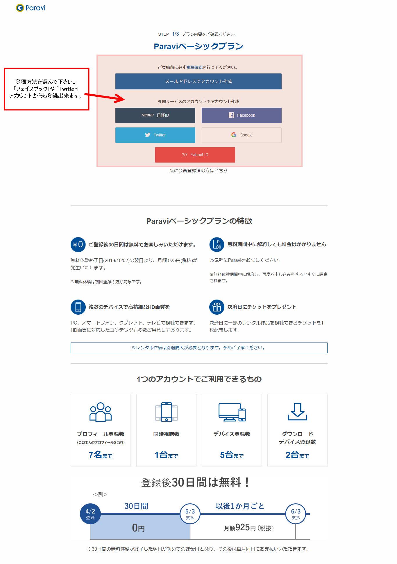 パラビ paravi parebi 無料体験 無料期間 登録 入会 加入 解約方法 申し込み ダウンロード方法 オフライン再生 登録 アカウント